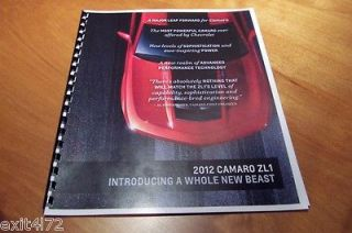 2012 Chevrolet Camaro ZL1 2010 2011 2013 1969 427 LS3 Booklet dealer