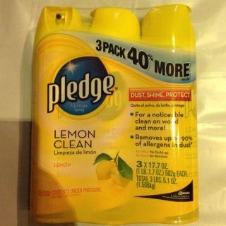 Pledge Furniture Leather Granite Stainless Steel Polish Lemon Scent 17