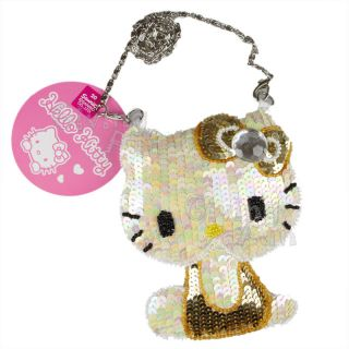 NEW GENUINE Hello Kitty Sequin Chain Coins Hand Bag Tote Case Pouch w