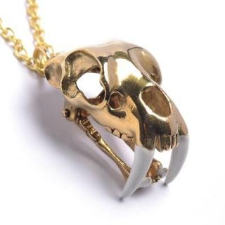Vintage brass saber tooth tiger skull chain necklace pendant by