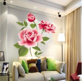 Rose Flower Butterfly Removable Wall Vinyl Decal Art DIY Home Decor