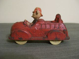 Antique Early Disney Sun Rubber Co. Mickey Mouse Fire Truck Toy 1940s