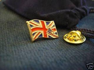 Masonic UK British Flag Union Jack Lapel Pin and Gift Pouch
