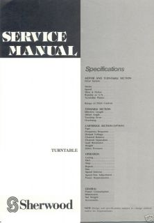 SHERWOOD SERVICE MANUALS TURNTABLE PD Series free US sh