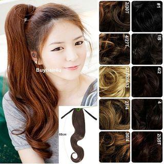PONYTAIL WIG 23 LONG HAIR PIECE HAIRPIECES BLONDE BLACK BROWN AUBURN