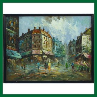 Parisian French Paris Impressionist Street Scene Acrylic Oil Painting