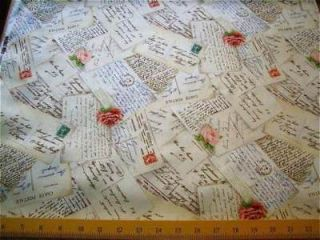 Michael Miller Fabric French Post Vintage Post Cards Rose Script Cream