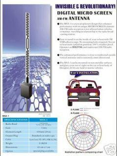 Universal Am Fm Hidden Windshield Antenna Car Radio 6 3 cable  New