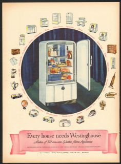 1946 Westinghouse Refrigerator Vintage Print Ad Appliance Antique