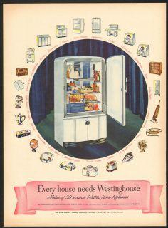 1946 Westinghouse Refrigerator Vintage Print Ad Appliance Antique