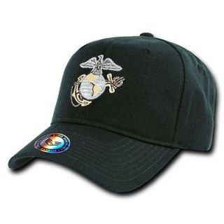 Marine Corps Branch Metallic Thread Logo Baseball Caps Black  S013
