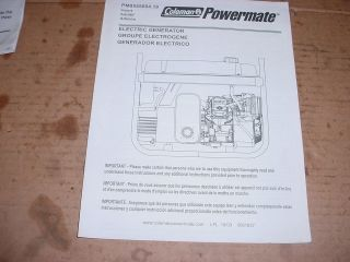 COLEMAN POWERMATE PM0545004.18 ELECTRIC GENERATOR OPERATORS MANUAL