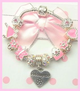 /TODDLERS SPARKLING AB PINK & SILVER CHARM BRACELET GIFT BOXED