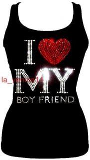 Brand NEW RHINESTONE I LOVE MY BOYFRIEND TANK TOP SHIRT S M L XL Free