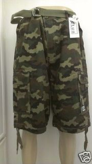 PRO CLUB mens CARGO SHORTS army green camo size 30 32 34 36 38 40
