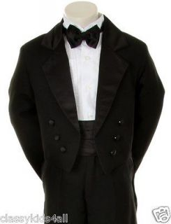 New Baby Toddler Boy Black Formal Dress Tuxedo Suit Set w/Bow tie Size