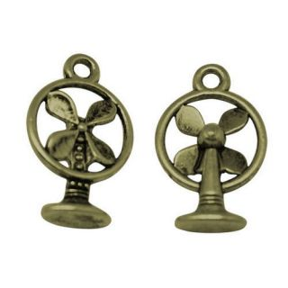 Antique Bronze Retro DESK FAN charms 10 pack   steampunk industrial