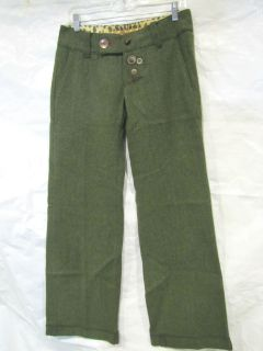 MISS SIXTY DRESS PANT GREEN HOUNDSTOOTH WOOL CUFFED OLIVE GRN SZ 28 JR