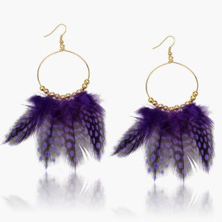 Charm Big DIA Gold Plated Hoop Genuine Feather Dotted Dangle Earrings