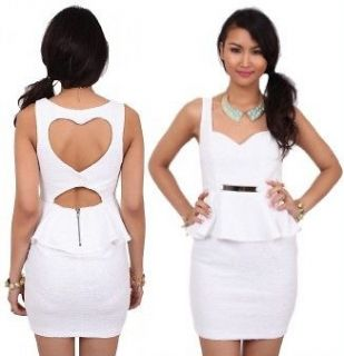 WHITE LOVE HEART CUT OUT BACKLESS BACK PEPLUM DRESS WITH GOLD BAR
