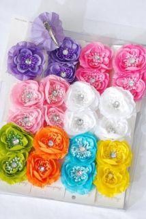 WHOLESALE girls PEONY daisy FLOWER HAIR BOW clip pin up SO PRETTY 8