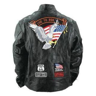 Diamond Plate Buffalo Black Leather Motorcycle Biker Cruiser Jacket
