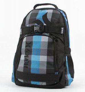 Mens/Boys Blue Plaid Hurley Honor Roll Backpack Laptop/SkateBoard Bag