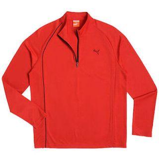 NEW 2012 Puma Golf 1/4 Long Sleeve Performance Polo Shirt Top Red X