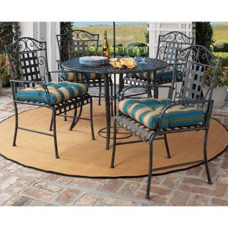 7 pc vintage wrought iron outdoor furniture patio set for Wrought iron dining set outdoor
