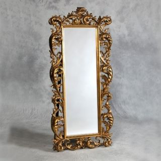 LARGE FRENCH CHATEAU ANTIQUE GOLD FREE STANDING FULL LENGTH MIRROR