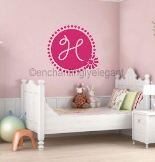 Custom Monogram in Flower Border Teen Girl Room Decor Vinyl Decal Wall