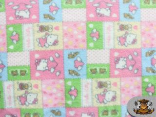Fleece Printed HELLO KITTY PINK PATCH Fabric 58 Wide sold by the