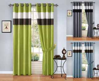 Luxury Faux Silk Window Curtain Panel Set with White Sheer Lining