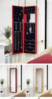 Jewelry Organizer Cabinet with Double Mirrors   Wall Mount or Door