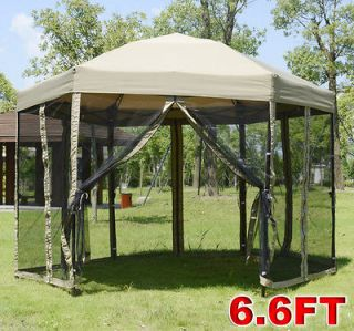 Outdoor 6.6FT Hexagon Canopy Garden Tent Gazebo Patio With Netting
