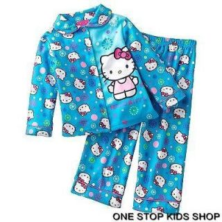 HELLO KITTY Toddler Girls 2T 3T 4T Flannel Pjs Set PAJAMAS Shirt Pants