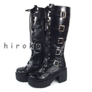 COSplay black rock PUNK visual kei shoes fashion shoes Boots platform