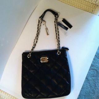 DKNY Genuine Leather Black Quilted Shoulder Bag Converts To Cross Body