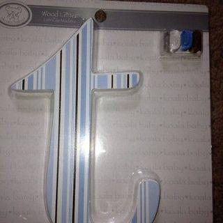 letter t hanging wooden letter white blue brown stripes nursery room