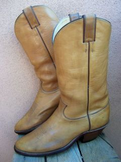 MENS TALL COWBOY WESTERN BOOT JUSTIN GOLDEN TAN LEATHER RANCH RIDING