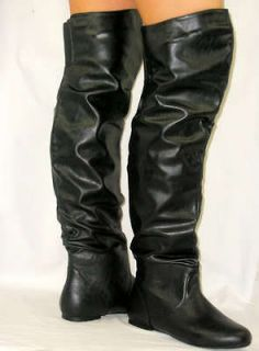 thigh high leather boots in Boots