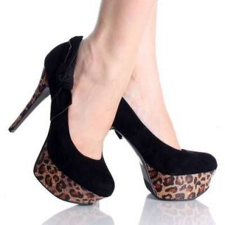 Newly listed Black Leopard Platform Pumps Bow High Heels Velvet Womens