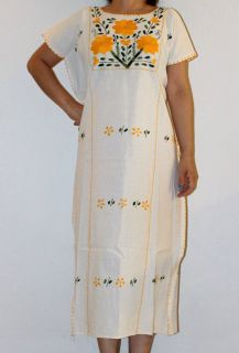 Raw Peasant Tunic Hippie Flower Mexican Huipil Dress Manta 100% Cotton