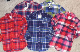 NWT ABERCROMBIE, HOLLISTER, & GILLY Womens Plaid Flannel Shirt NEW XS