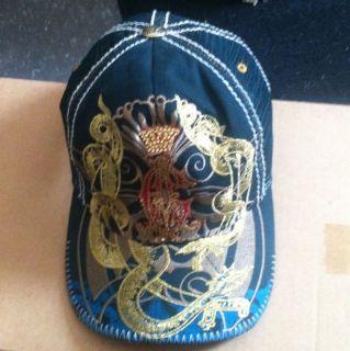 Christian Audigier Trucker Hat Cap Blue Gold Rhinestone Bling