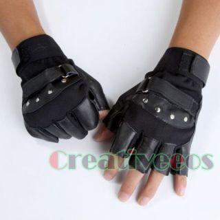 fingerless leather gloves stud