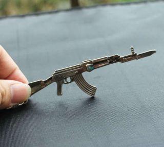 black Weapon Model AK47 Gun Fix bayonet Assault Rifle Key Chain