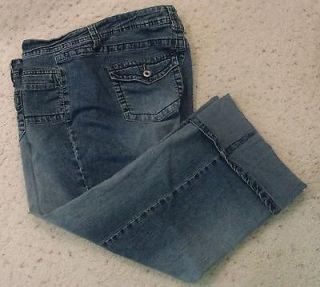 Womens ANGEL JEANS Blue Stretch Denim Cropped/ Capris Size 24