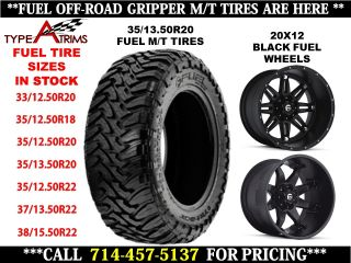 Fuel Off Road Black Wheel & 35/13.50R20 Fuel Gripper M/T Tire Package