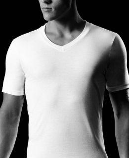 NWOT  Alfani Mens V Neck Tee Shirt White 100% Combed Cotton